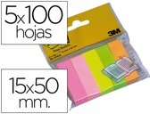 MINI BLOCO DE NOTAS ADESIVAS POST-IT 15 X 50 MM CORES SORTIDAS