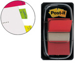 BANDAS POST-IT INDEX 3M, 25,4X43,1 MM, VERMELHA -DISPENSADOR DE 50