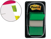 BANDAS POST-IT INDEX 3M, 25,4X43,1 MM, VERDE -DISPENSADOR DE 50