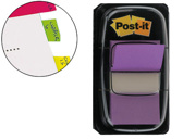 BANDAS POST-IT INDEX 3M, 25,4X43,1 MM, VIOLETA -DISPENSADOR DE 50