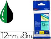 FITA BROTHER TZ-731 LAMINADA VERDE-PRETO 12MM X 8M