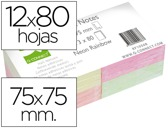 BLOCO DE NOTAS ADESIVAS Q-CONNECT SORTIDO 75 X 75 MM