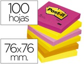 BLOCO DE NOTAS ADESIVAS POST-IT NEON. 76 X 76 MM, pack 6