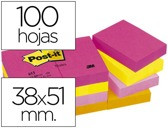 BLOCO DE NOTAS ADESIVAS POST-IT NEON. 38 X 51 MM, pack de 12