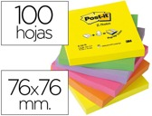 BLOCO DE NOTAS ADESIVAS POST-IT SORTIDO. 76 X 76 MM. pack de 6 blocos.