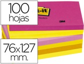 BLOCO DE NOTAS ADESIVAS POST-IT NEON. 76 X 127 MM, pack de 6