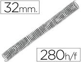 ESPIRAL METALICO Q-CONNECT 64-5:1 DIAMETRO 32 MM CALIBRE 1,2MM PARA 280 FOLHAS 44375
