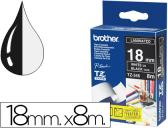 FITA BROTHER TZ-345 LAMINADA PRETO-BRANCO 18MM X 8M