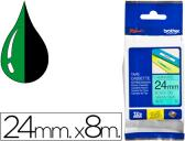 FITA BROTHER TZ-751 LAMINADA VERDE-PRETO 24MM X 8M