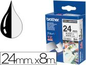 FITA BROTHER TZ-N251 NAO LAMINADA BRAMCO-PRETO 24MM X 8M