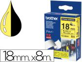 FITA BROTHER TZ-S641 SUPER ADESIVA AMARELO-PRETO 18MM X 8M