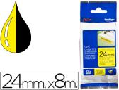 FITA BROTHER TZ-S651 SUPER ADESIVA AMARELO-PRETO 24MM X 8M