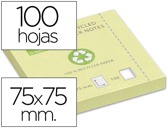 BLOCO DE NOTAS ADESIVAS Q-CONNECT 75X75 MM - PAPEL RECICLADO AMARELO