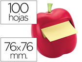 BLOCO DE NOTAS ADESIVAS POST-IT 76X76 MM FORMA DE MACA COM DISPENSADOR