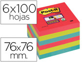 BLOCO DE NOTAS ADESIVAS POST-IT SUPER STICKY 76X76MM COM 6 BLOCOS