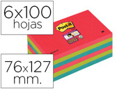 BLOCO DE NOTAS ADESIVAS POST-IT SUPER STICKY 76X127 MM COM 6 BLOCOS