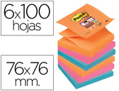 BLOCO DE NOTAS ADESIVAS POST-IT SUPER STICKY 76X76 MM ZIGZAG COM 6 BLOCOS