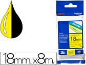 FITA BROTHER TZ-641 LAMINADA AMARELO-PRETO 18MM X 8M