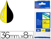 FITA BROTHER TZ-661 LAMINADA AMARELO-PRETO 36MM X 8M