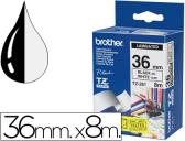 FITA BROTHER TZ-261 LAMINADA BRANCO-PRETO 36MM X 8M