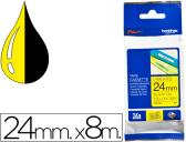 FITA BROTHER TZ-651 LAMINADO AMARELO-PRETO 24MM X 8M